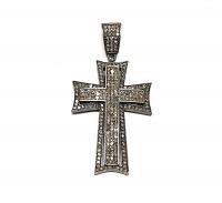 Kreuz Anhänger mit Diamanten besetzt ca. 50x25 mm 925 Silber Rhodiniert & geschwärzt - UNIKAT