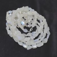 weißer Labradorit Halskette Nugget facettiert ca. 10-12 mm / ca. 45 cm mit 925 Silberkarabiner