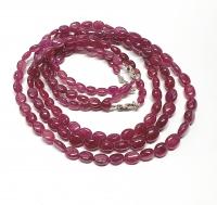 Rubin Halskette oval farbbehandelt ca. 6x5 bis 9x7 mm verlaufen mit 925 Silberkarabiner