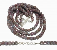 Rubin-Disthen Halskette facettiert ca. 7-8 mm / 43-49 cm mit 925 Silberkarabiner