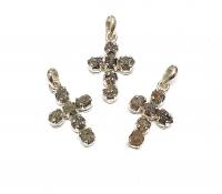 Diamant AnhängerKreuz mit 6 Rohdiamanten in 925 Silberca. 35 x 18 mm