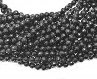 schwarzer TurmalinKugelstrang facettiert ca. 6 mm / ca. 40 cm