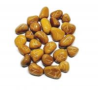 25er Runen - Set graviert aus Jaspis braun / Handgefertigt