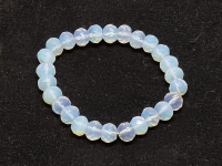 Opalglas (syn.)Buttonarmband facettiert ca. 10 mm / ca. 19 cm