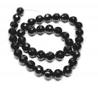 Obsidian Kugelstrang facettiert ca. 10 mm / ca. 40 cm