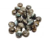 27 Labradorit Perlen Button 1,2 mm gebohrt ca.11-12 mm