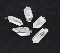 5er Set Bergkristall Anhänger an silberf. Stiftöse aus Brasilien / Naturkristalle