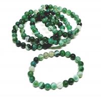 Streifenachat grün (farblich behandelt) Kugelarmband ca. 8 mm /  ca. 19 cm