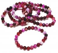 Streifenachat pink (farblich behandelt) Kugelarmband ca. 8 mm /  ca. 19 cm