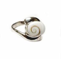 Operculum Fingerring in 925 Silber gefasst Größe: 17,3 mm - Einzelstück