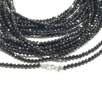 schwarzer Spinell Halskette / Kugelkettefacettiert ca. 2 mm/ ca. 45 cm mit 925er Silberkarabiner