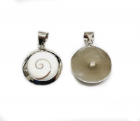 Operculum Anhänger rund in 925 Silber gefasst ca. 28 x 19 mm