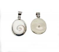 Operculum Anhänger oval in 925 Silber gefasst ca. 30 x 18 mm