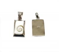 Operculum Anhänger Rechteck 925 Silber ca. 30 x 12 mm