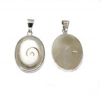 Operculum Anhänger oval in 925 Silber ca. 40 x 21 mm