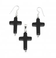 Onyx Set Kreuz mit Ohrhänger und Anhängeran925 Silber