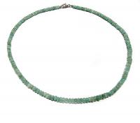 Smaragd Halskette Button ca. 3 - 4 mm / ca. 45 cm 925 Silberkarabiner