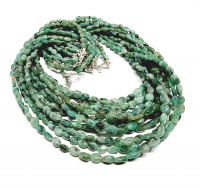 Smaragd Halskette Olive ca. 4-5 mm / ca. 45 cm 925 Silberkarabiner