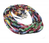 Saphir / Rubin / Smaragd Halskette Button facettiert ca. 2 - 3,5 mm ca. 45 cm mit 925 Silberkarabiner