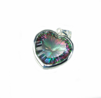 Herz Anhängermystischer Bergkristall facettiert in 925 Silber ca. 33 x 22 mm - Einzelstück