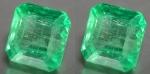 2 x Smaragd Quadrat facettiert - ca. 3 x 3 mm / ca. 0,3 ct Gesamtgewicht