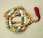 Mala aus Jade / Jaspis Mix 108 Perlen ca. 10-14 mm ca. 120 cm