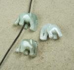 3er Set Elefant Anhänger aus Jade ca. 20x30 mm mit senkrechter 2,5 mm Bohrung