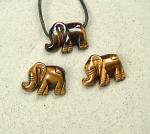 3er Set Tigerauge Elefant Anhänger für Lederbänder