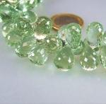 grüner Amethyst A Qual fac Pampelstrang 7x12/9x14 mm/20 cm