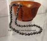 10 x Hematin Halskette teilw. gefrostet / poliert 8 mm / 50 cm
