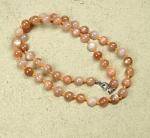 rosa Mondstein Kugelkette einzeln geknotet ca. 8 mm / 50 cm