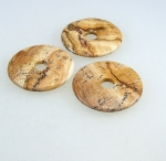 3er Set 40 mm Landschaftsjaspis Donut Anhänger